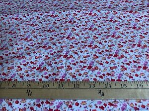 2Yds-VTG-OOP-HTF-Shamash-Mini-Floral-on-White-Stretch-Cotton-Fabric