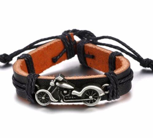 Biker Armband Kunstleder Herren Schmuck Motorrad Motiv Vintage Schwarz Surfer