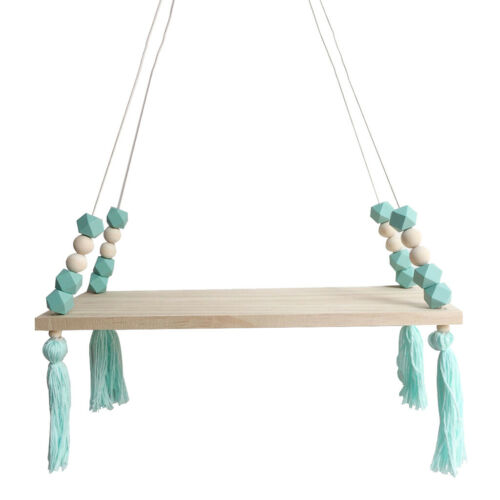Wooden Floating Rope Wall Hanging Shelf Book Kitchen Bedroom Decor Green