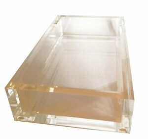 guest towel holder tray for paper guest towels acrylic brand new by caspari ebay. Black Bedroom Furniture Sets. Home Design Ideas