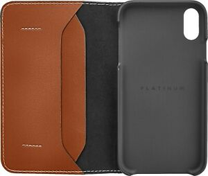Platinum-Leather-Folio-Wallet-Case-for-Apple-iPhone-XS-Max-Papaya