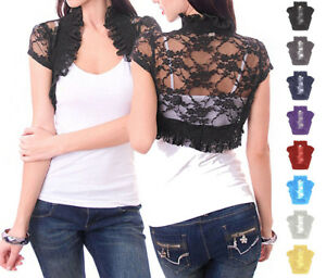 Allover-Laced-Solid-Puffed-Short-Sleeve-Cropped-Shirred-Bolero-S-L