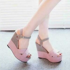 Women-039-s-sandals-high-heel-wedges-color-matching-shoes-platform-Roman-shoes-Lady