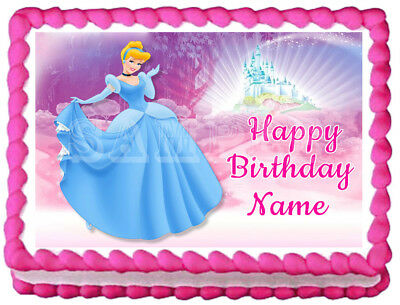 Strange Cinderella Edible Cake Topper Party Image Ebay Funny Birthday Cards Online Overcheapnameinfo