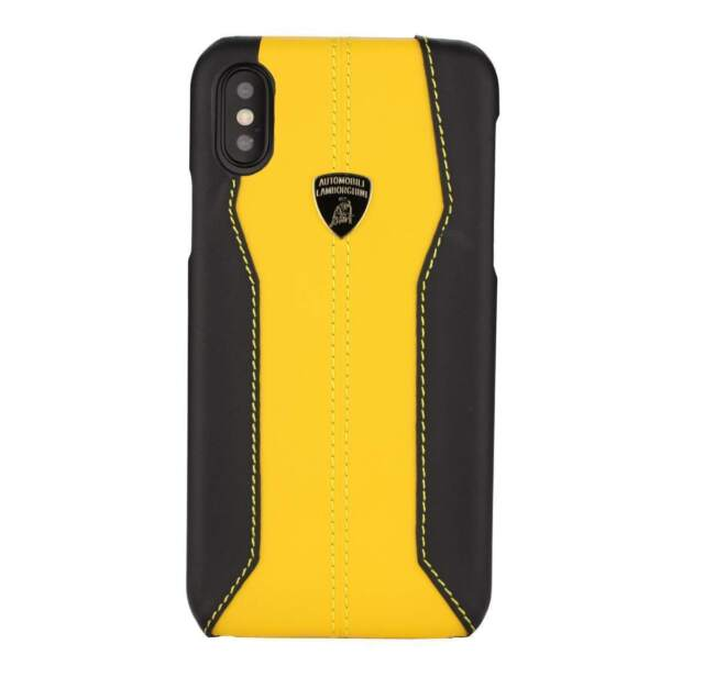 competitive price 257f0 4a8aa Lamborghini Huracan-d1 Leather Back Cover Case for iPhone X Yellow