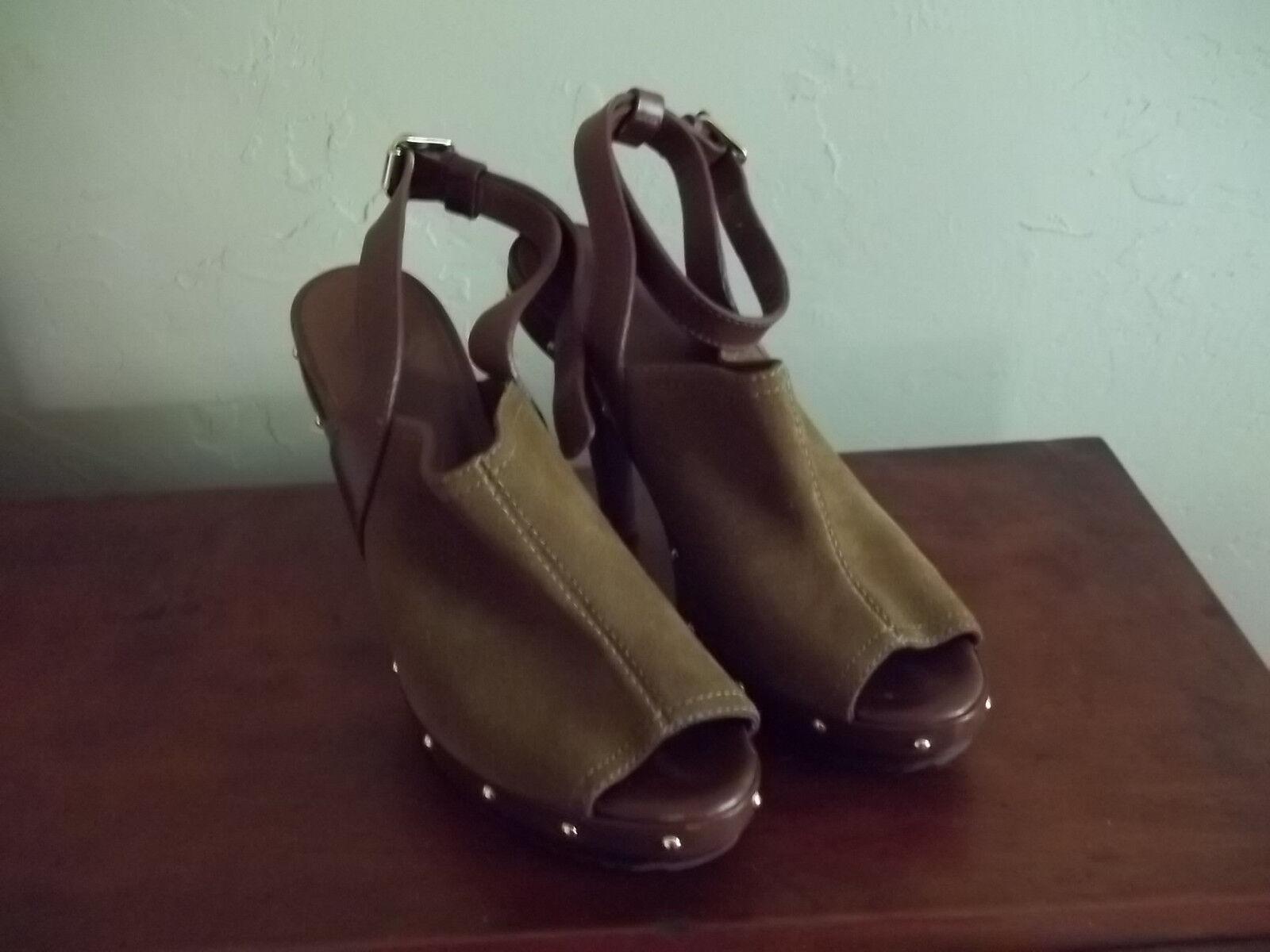 Tory Burch  Marronee Suede High Heel Open Toe Ankle Strap Platform scarpe 9M  autentico online