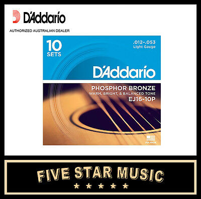 D'ADDARIO EJ16 10 PACK ACOUSTIC GUITAR STRING SETS 12-53 J16 NEW PRO DADDARIO
