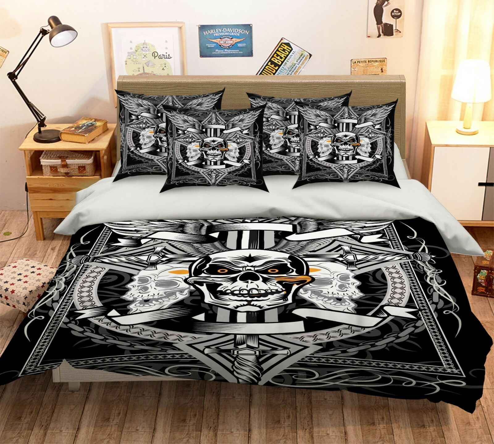 3D Skull Texture 5 Bed Pillowcases Quilt Duvet Cover Set Single Queen US