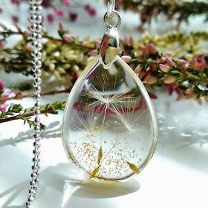 Silver-Dandelion-Seed-Wish-Pendant-Necklace-Handmade-Resin-Jewellery-Gift-Women