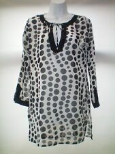 SIZE 8 BLACK AND WHITE SPOTTY BEACH COVER UP SHEER FABRIC FAB FOR WINTER TRAVEL