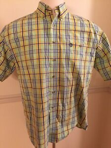 Men-039-s-WRANGLER-WESTERN-Large-Short-Sleeve-S-S-George-Strait-Green-Plaid-Stained