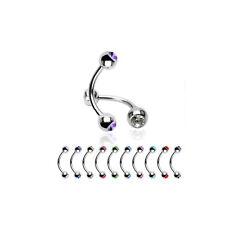12er SET  Augenbrauenpiercing  2-STEINE  Piercing ~HOT~