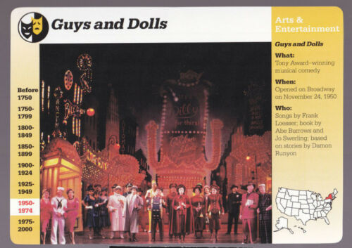 GUYS AND DOLLS Broadway Play Cast Photo GROLIER STORY OF AMERICA CARD