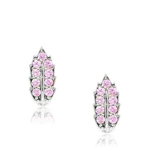 Female/'s 925 Silver Clip-On Birthstone Pink Sapphire Leaf Leverback Earrings