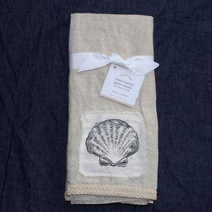 Pottery Barn Neasa Coastal Linen Guest Towels Set Of 2