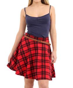b1c6b291eb5d36 Détails sur Neuf pour Femmes Imprimé Tartan Écossais Évasé Sexy Jupe Dames  Taille Haute