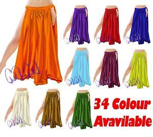 767013bb65 Satin 2 Side Slit Skirt Belly Dancing Tribal Dance wear Costume Long ...