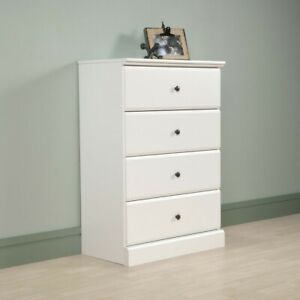 Details About Chest Of Drawers Large White Home Bedroom Dresser 4 Four Drawer Decor Furniture