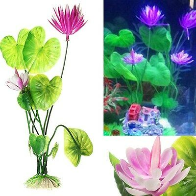 Artificial Plastic Lotus Flower Grass Plant Aquatic for Fish Tank Ornament Decor