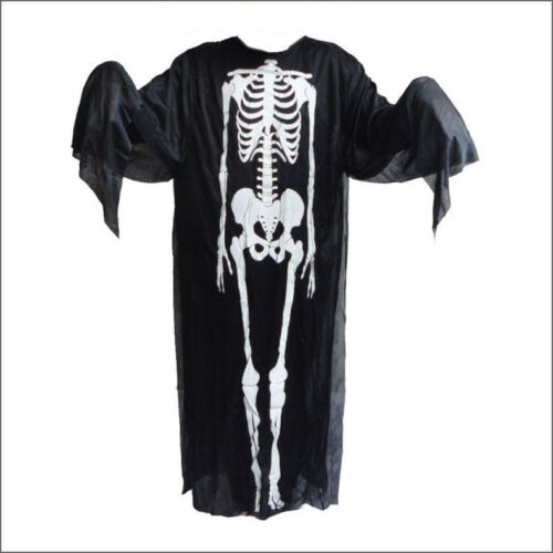 Adult Black Bone Skeleton Costume Halloween Party Fancy Dress Outfit One Size