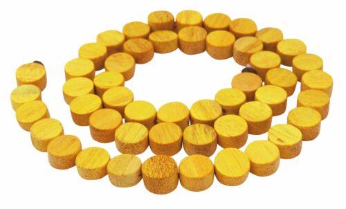 Jakobsfruchtbaumholz Münzen 8x4 mm gelbe Naturfarbe Perlen Strang H.JA-12