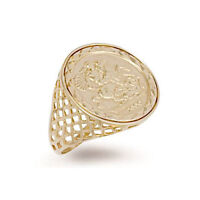 9ct Yellow Gold Hallmarked Imitation St George Half Sovereign Ring 21mm