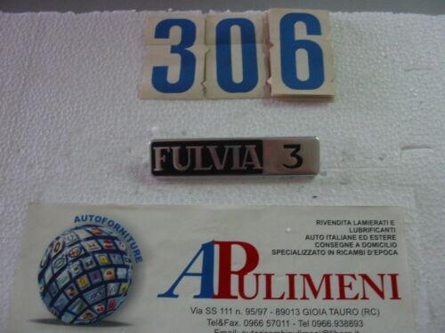 """POSTERIORE LANCIA """"FULVIA 3"""" IN METALLO BADGE 471 FREGIO-LOGO-SIGLA-SCRITTA"""