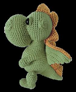 LOOP BABY Kuscheltier Drache aus Bio-Baumwolle gehäkelter grüner Drache