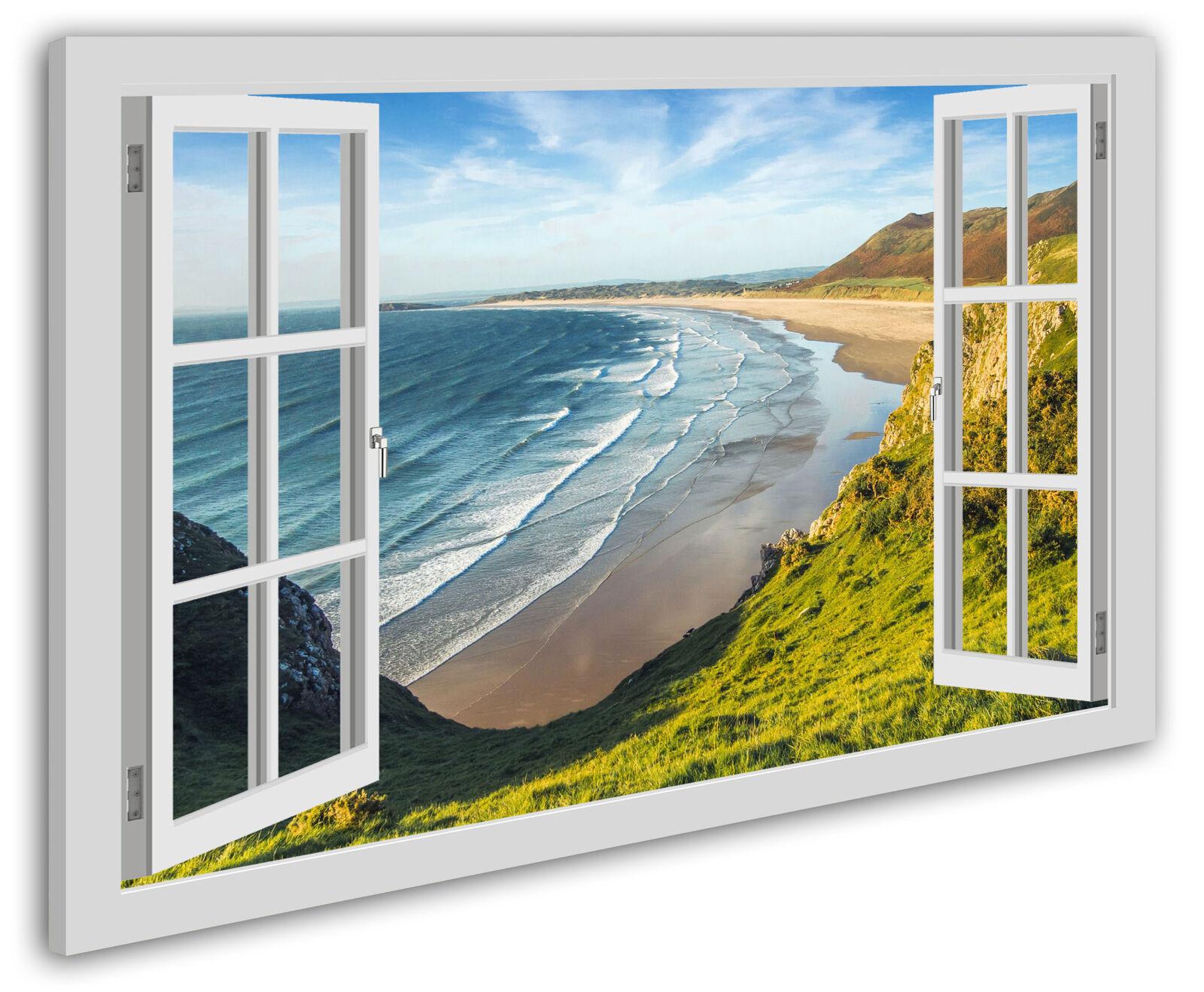 Leinwandbild Wandbild Fensterblick Strand Küste Meer England