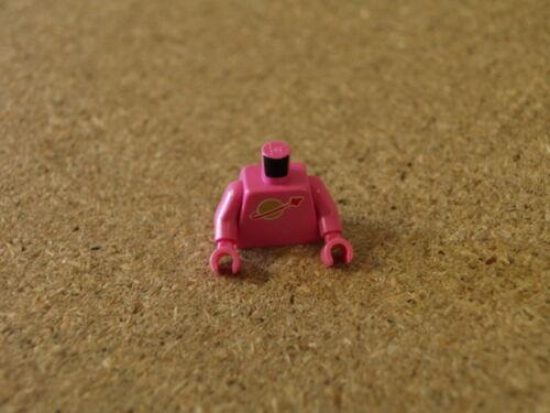 Película Lego Minifig luna oscura de color rosa torso espacio clásico con el logotipo de alta en torso Nuevo
