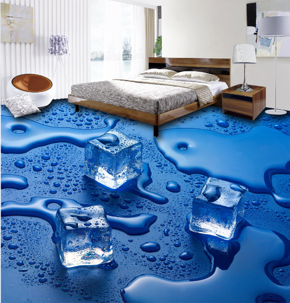 3D Blau Ice Cube Water 5 Floor WallPaper Murals Wall Print Decal AJ WALLPAPER US