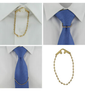 """Tie Chain Fancy Link Yellow Gold Button Hole Attachment Foster USA 7.5"""""""