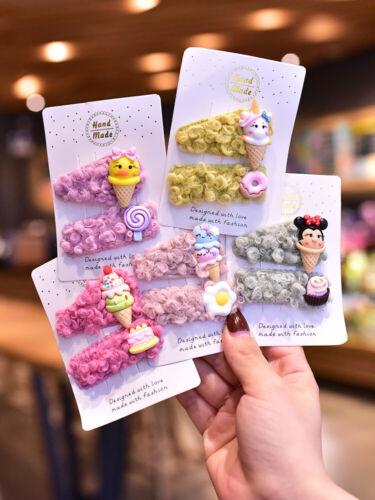 Kids Girls Baby Animal Lollipop Ice cream Wool Hair Clips Snap Hairpins Bendies