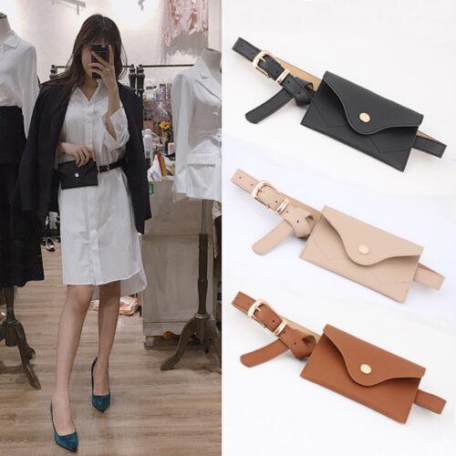 NEW  Womens PU Leather Mini Belt Bag Waist Fanny Pack Key Phone Purse Wallet  UK