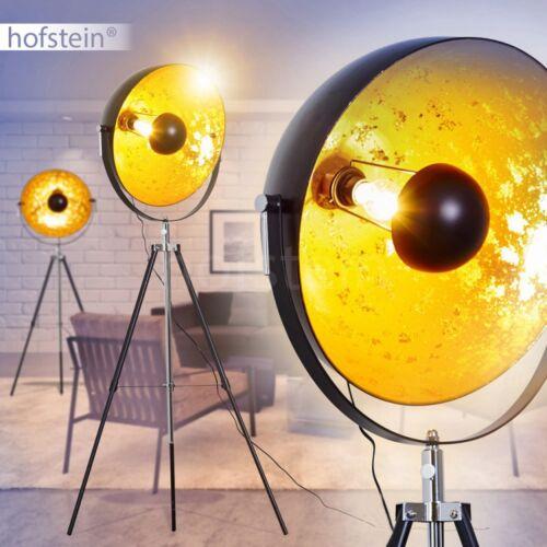 Retro Steh Lampe Wohn Schlaf Büro Zimmer Dreibein Leuchte Leselicht Schwarz Gold