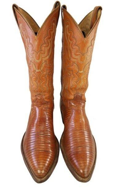 Exótico de Cuero Genuino Marrón botas De Vaquero Vintage Hombre Occidental D Justin