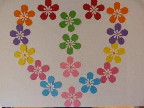 16 papel de gran 3D colores brillantes flores autoadhesiva