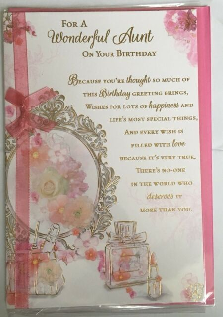 For A Wonderful Aunt On Your  Birthday - Birthday Card - Versey/wordy