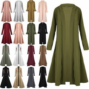 Ladies-Womens-Plain-Band-Full-Sleeves-Oversize-Baggy-Open-Front-Cardigan-Duster
