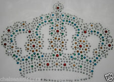 NEW SILVER CROWN Iron-on-Transfer Motif King/Queen Blue/Green/Gold Rhinestones