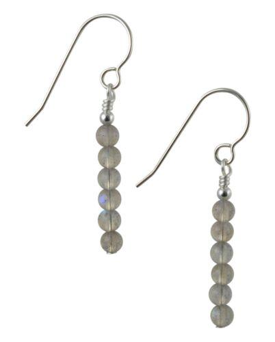 Pale Grey Labradorite Gemstone /& Sterling Silver Drop Earrings Gift Box