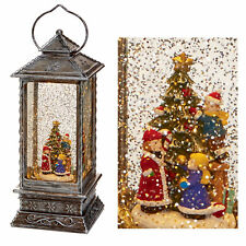 premier decorations 27cm christmas glitter water spinner lantern snowman