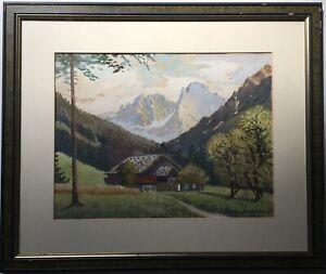 Alpenlandschaft-Bauernhaus-Landhof-Bayern-Paul-Helbing-Tempera-52-x-62-cm