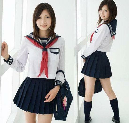 4053-15 - Long Sleeve Japanese School Girl Sailor Uniform Cosplay Costume Dress
