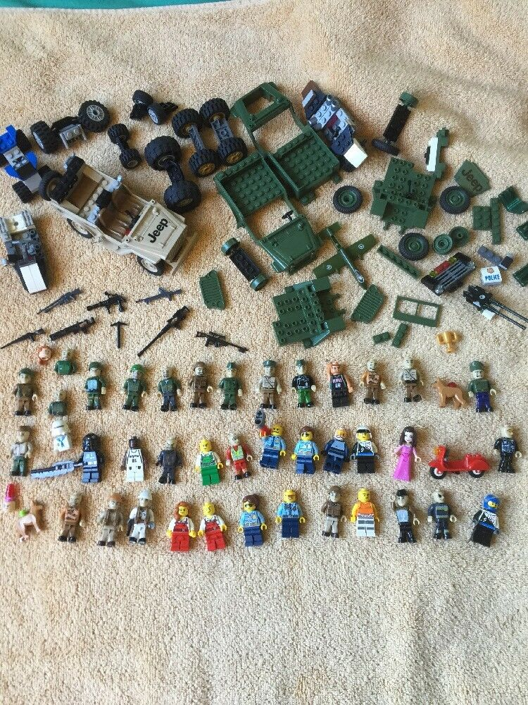 Lot 40+ LEGO Minifigures Men Men Men People Army Police Guns Jeep Wheels Dogs Scooter 82ac3c