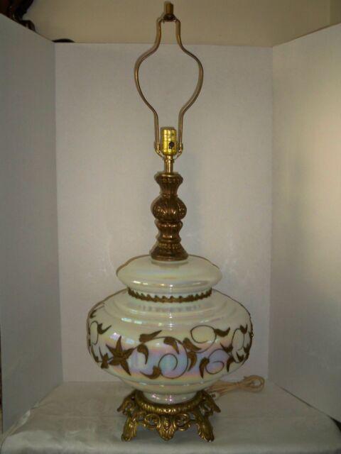 Vtg Falkenstein Mid Century Opalescent Art Glass Table Lamp Ebay