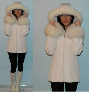 AMAZING white FOX MINK fur trimmed princess coat vtg 70s hooded ...