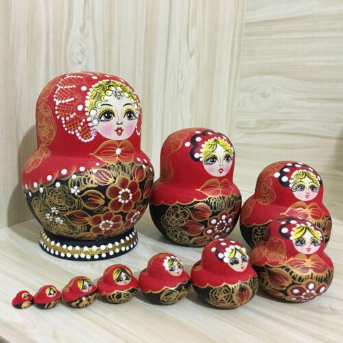 Rote Blumen Mädchen Printed Russian Babuschka Matryoshka Nesting Dolls für