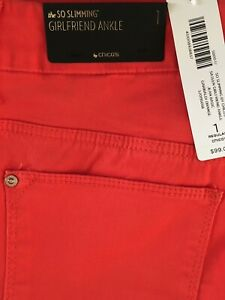 Chico-039-s-So-Slimming-Girlfriend-Ankle-Jeans-99-Regular-1-Size-8-NWT-Orange