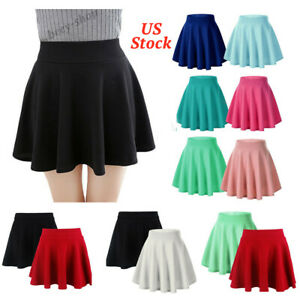 Halloween-Womens-A-Line-Pleated-Stretchy-Flared-Skater-Skirt-Mini-Cosplay-Dress